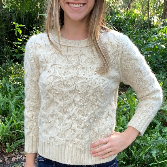 Ann Taylor Womens Wool Sweater with Pearl Accents
